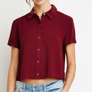 Forever 21 Flow Button Crop Top